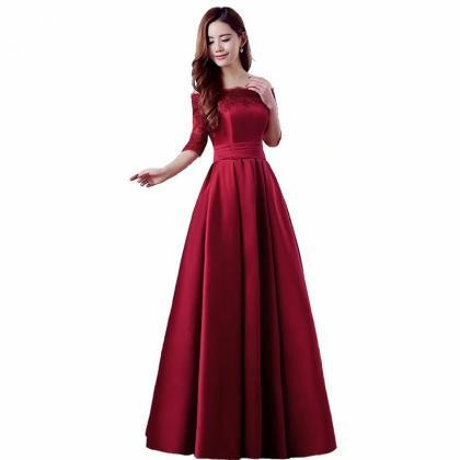 Elegant Wine Red Prom Dresses Long 2019 Women's Sexy A-line Half Sleeve Lace Cheap Evening Party Gowns