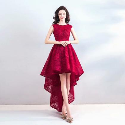 Free Shipping 2019 Elegant Prom Dresses High Low Women's Sexy A-line Sleeveless O-neck Lace Evening Party Gowns