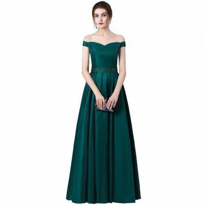 Free Shipping Dark Green Prom Dresses Long 2019 Women's Sexy A-line Sleeveless Off The Shoulder Fashion Satin Evening Party Gowns
