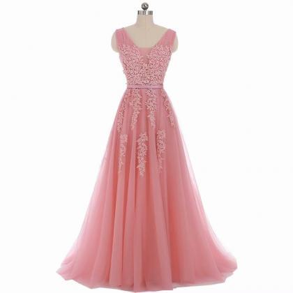 Elegant Applique Prom Dresses Long 2019 Women's Sexy A-line Sleeveless Pink Lace Cheap Tulle Evening Party Gowns