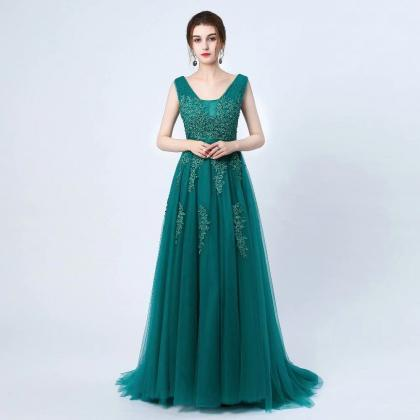 Free Shipping Elegant Prom Dresses Long 2019 Women's Sexy A-line Sleeveless V Neck Dark Green Lace Cheap Evening Party Gowns