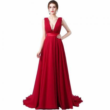 Sexy Deep V Neck Prom Dresses Long 2019 Women's Sexy A-line Sleeveless Red Chiffon Chapel Train Cheap Evening Party Gowns