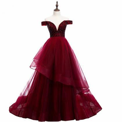 Free Shipping Charming Burgundy Prom Dresses Long 2019 Women's Sexy A-line Tulle Lace Applique Cheap Floor Length Evening Party Gowns