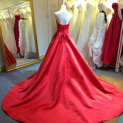2016 Red Satin Wedding Dresses With..