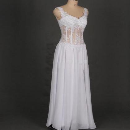 White V Neck Prom Gowns With Side S..