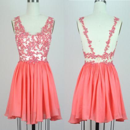 Coral Homecoming Dresses,Short Prom..