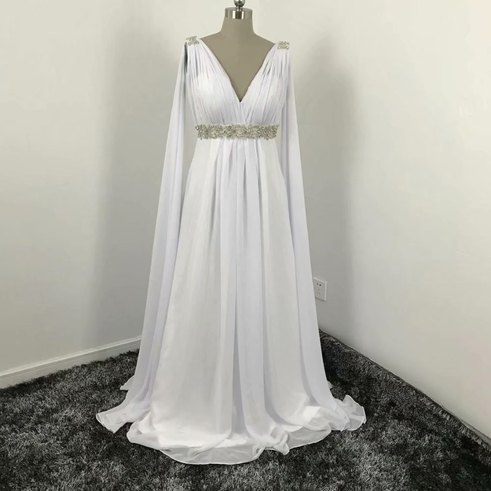 2019 Chiffon Beach Wedding Dresses V Neck A Line Bridal Dress Sexy Beading Wedding Gowns