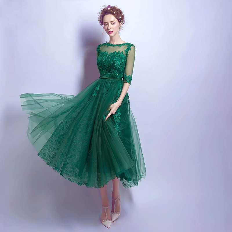 2019 Green Sexy Prom Dresses 2019 Tea Length Girl Tulle Half Sleeve Evening Dress Long Gown Zipper Party Dresses Robe De Soiree