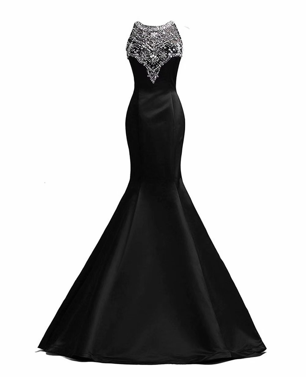 Fashion Black Mermaid Floor-Length Satin Beaded Sequin Bridesmaid Dresses
