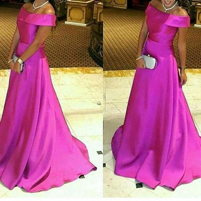 2016 Charming Scoop Long Formal Dresses, Simple Fuschia Satin Prom ...