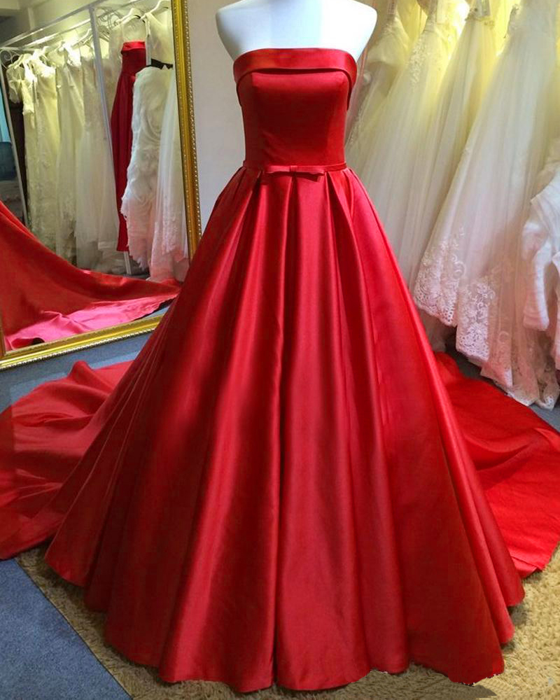 2016 Red Satin Wedding Dresses With Belt, Long Strapless Bridal Dresses Wedding Gowns With Chapel Train, Long Elegant Red Formal Dresses With Long Train