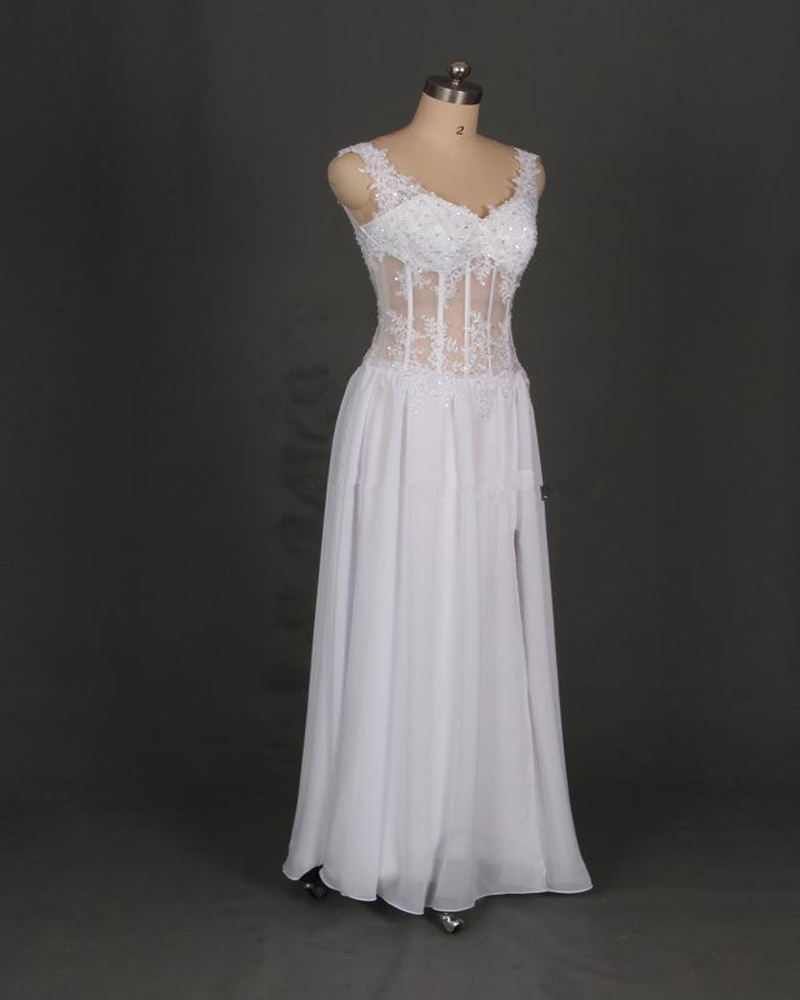 White V Neck Prom Gowns With Side Split Lace Appliques Illusion Bodice Evening Dresses