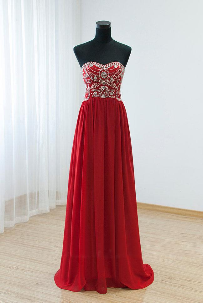 Long Elegant Red Prom Dresses Sweetheart Rhinestones Beaded Embellished Formal Gowns With Court Train