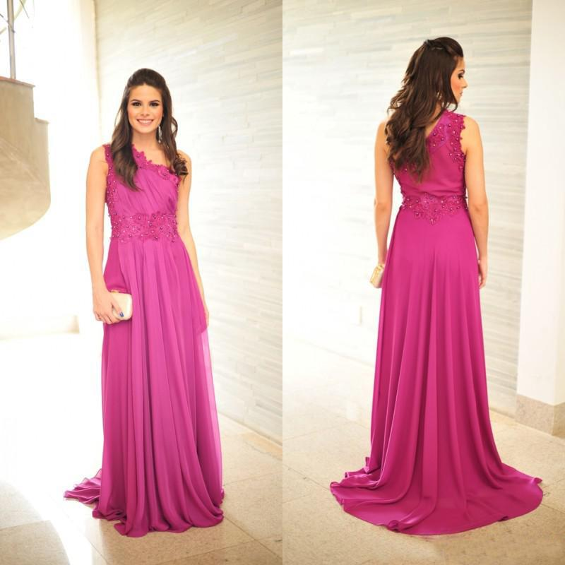 Sexy One Shoulder Beaded Prom Dresses Fuschia Chiffon Long Elegant ...