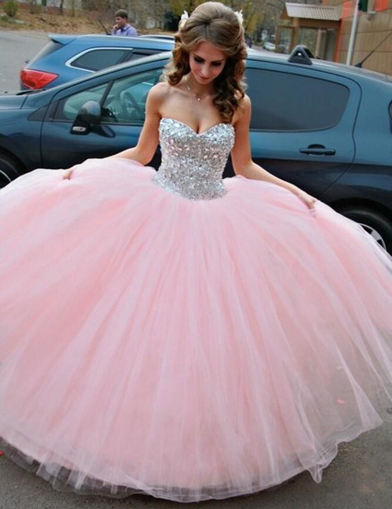 aa2d7d5e Sparkly Tulle Pink Sparkle Ball Gown Prom Gowns, Pink Prom Dresses,Ball Gown  Prom