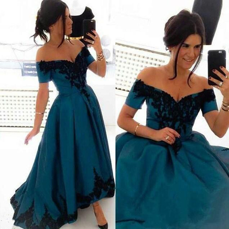 1a51b40791 Charming High Low Teal Prom Gowns Satin V Neck Lace Applique Formal Dresses