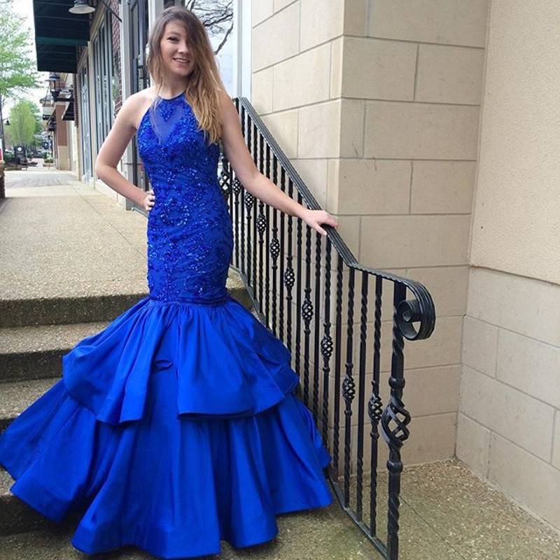 Royal Blue Mermaid Prom Dress Women Formal Dresses Satin Evening Party  Gonws With Beaded Bodice 74ee295933b5