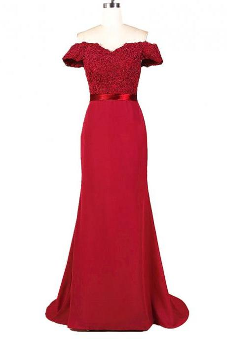Burgundy Off-the-Shoulder Mermaid Long Prom Dress, Evening Dress Featuring Lace Appliqués