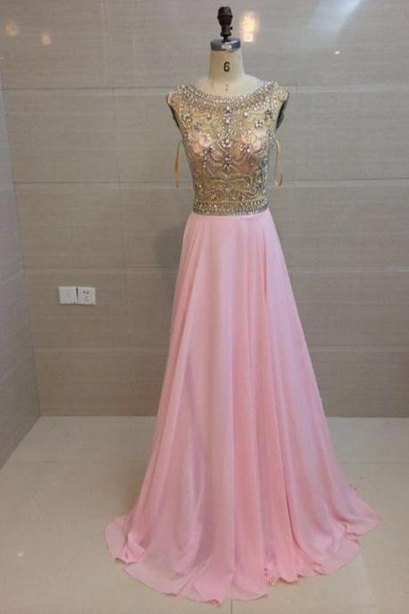 Elegant Pink Prom Dresses Long Beaded Chiffon Evening Party Formal Gonws With Sheer Neckline