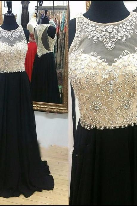 Sexy Black Prom Dresses Long Chiffon Beaded Evening Party Formal Gonws With Sheer Neckline