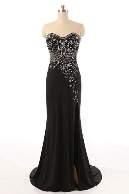 Sexy Sweetheart Black Chiffon Bridesmaid Dresses,Elegant Long Mermaid Formal Dresses, Wedding Party dresses, New Arrival Evening Gowns
