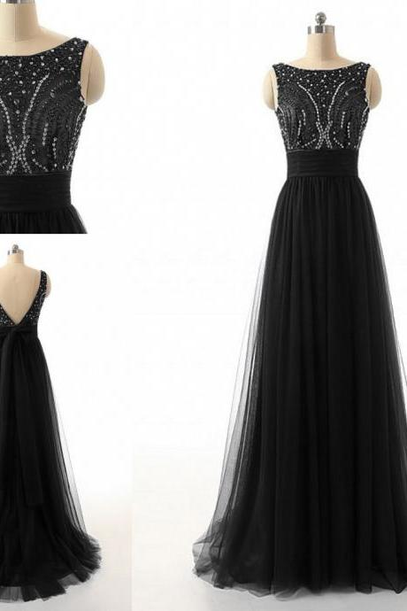 Sexy Long Black Prom Dresses Showcases Beaded Rhinestones Bodice And Open Back Floor Length Tulle Formal Dresses