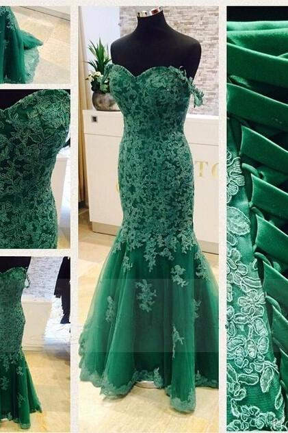 Fashion Long Green Prom Dresses Showcases Lace Applique Bodice And Off The Shoulder Floor Length Tulle Mermaid Formal Dresses