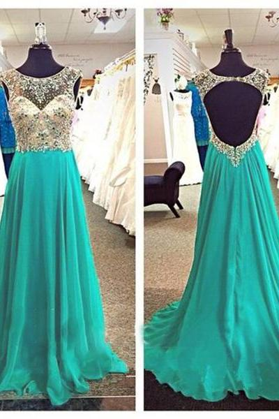 Sexy Long Turquoise Prom Dresses With Open Back And Beaded Bodice Floor Length Chiffon Formal Dresses