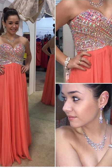 Sexy Long Coral Prom Dresses With Beaded Rhinestone Sweetheart Neckline Floor Length Chiffon Formal Dresses