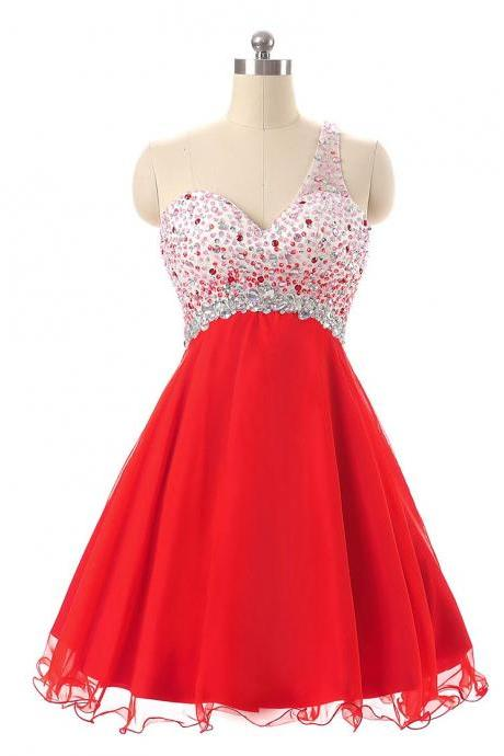 Sparkly Red Homecoming Dresses,Short Prom Dresses,One Shoulder Beaded Chiffon Mini Graduation Dresses