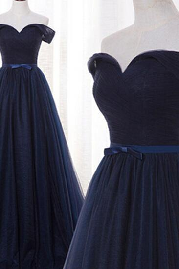 Navy Blue Tulle A Line Formal Dresses Featuring Ruched Skirt And V Neckline - Prom Dresses,Party Dress