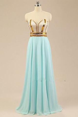 Light Blue Chiffon A Line Formal Dresses Featuring Beaded Bodice And Sweetheart Neckline - Prom Dresses,Party Dress