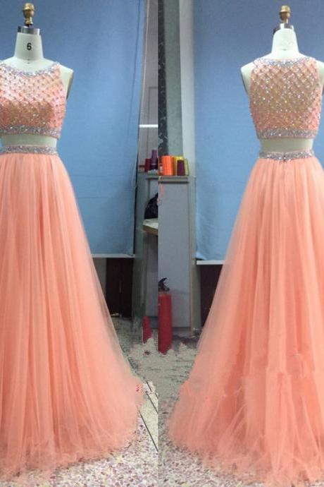Stunning Coral Tulle Prom Dresses,Two Piece Prom Dress,Long Scoop Neckline Evening Dresses, Coral Bridesmaid Dresses