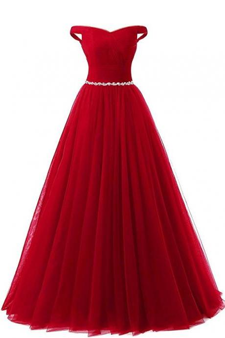 Off The Shoulder Red Floor Length V Neck Bridesmaid Dresses,Elegant Long Prom Dresses, Wedding Party dresses, New Arrival Evening Gowns
