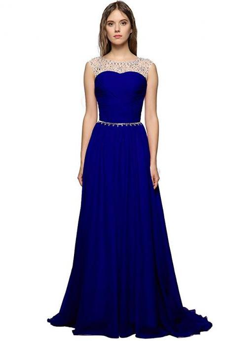 Sexy Royal Blue Prom Dresses Featuring Rhinestones Beaded Bodice With Sheer Bateau Neckline Floor Length Chiffon Formal Dresses