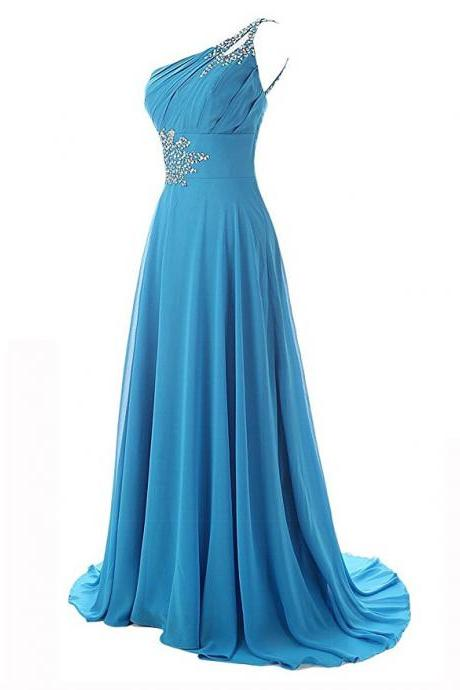Sexy One Shoulder Beaded Chiffon Formal Dresses,Long Elegant Sky Blue Prom Dresses,