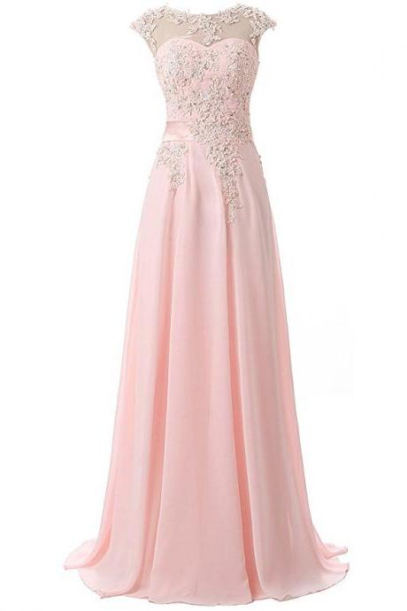 Sexy Beaded Pink Chiffon Formal Dresses,Long Elegant Prom Dresses With Sheer Neck,