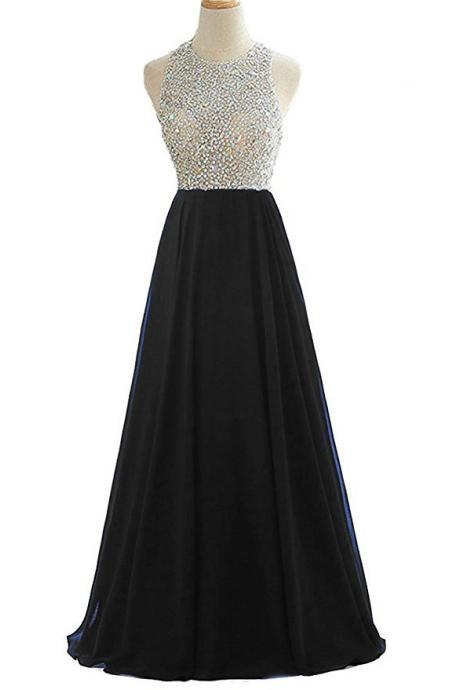 Long Beaded Rhinestone Black Prom Dresses Featuring Scoop Neckline Long Chiffon A Line Backless Evening Gowns