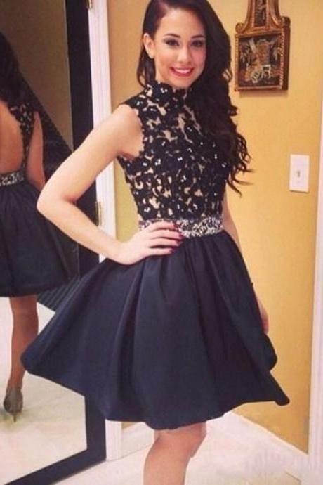 Sexy Black Homecoming Dresses,Short Prom Dresses,Backless Satin Mini Dresses,Little Black Dress