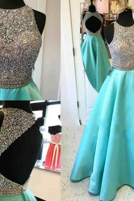 Sexy Women Turquoise Beaded Formal Dresses Backless Satin Evening Party Gowns