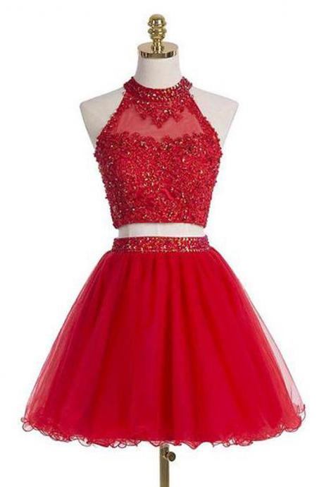 Sparkly Two Piece Red Homecoming Dresses,Short Prom Dresses,Lace Applique Halter Tulle Crystal Mini Dresses
