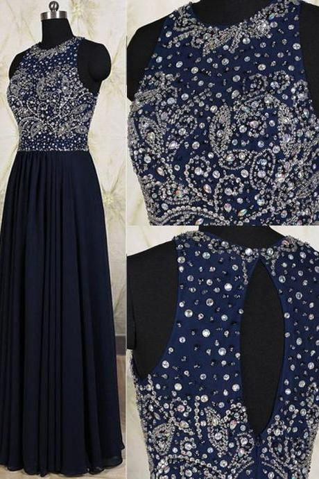 Elegant Long Navy Blue Chiffon Prom Dresses Featuring Sheer Neck And Rhinestones Beaded Bodice Floor Length Evening Formal Gowns