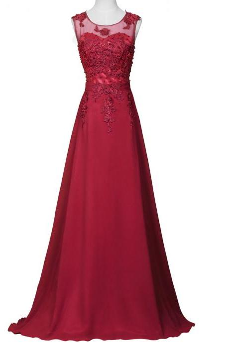 Stunning Burgudny Chiffon Bridesmaid Dresses,Elegant Long Beaded Formal Dresses, Wedding Party dresses, New Arrival Evening Gowns