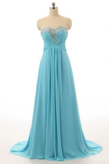 New Long Light Blue Chiffon Prom Dress, Evening Dress with Beaded Rhinestone Embellishment and Lace-up Back