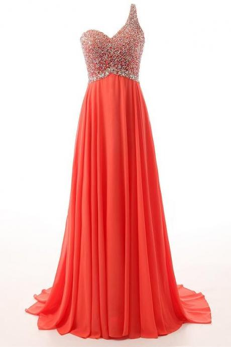 Sexy One Shoulder Coral Chiffon Backless Prom Dress, 2018 Evening Dress With Beaded Embellishment and Open Back