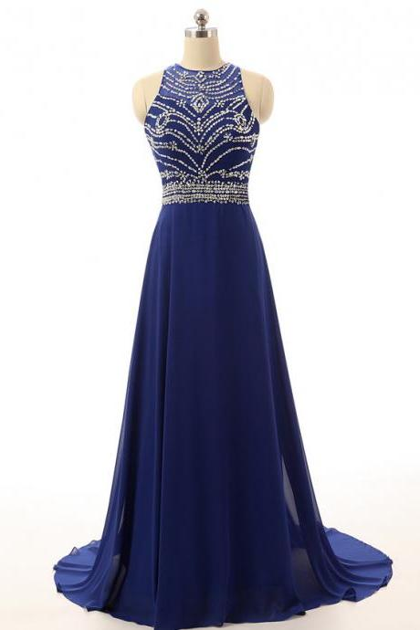 2017 Royal Blue Prom Dresses Featuring Scoop Neckline Long Backless Evening Gowns