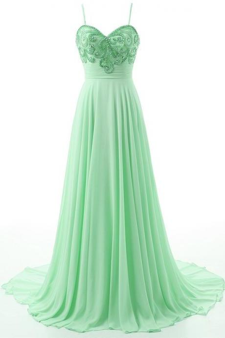 2017 Mint Green Prom Dresses Featuring Spaghetti Straps Long Chiffon Beaded Evening Gowns