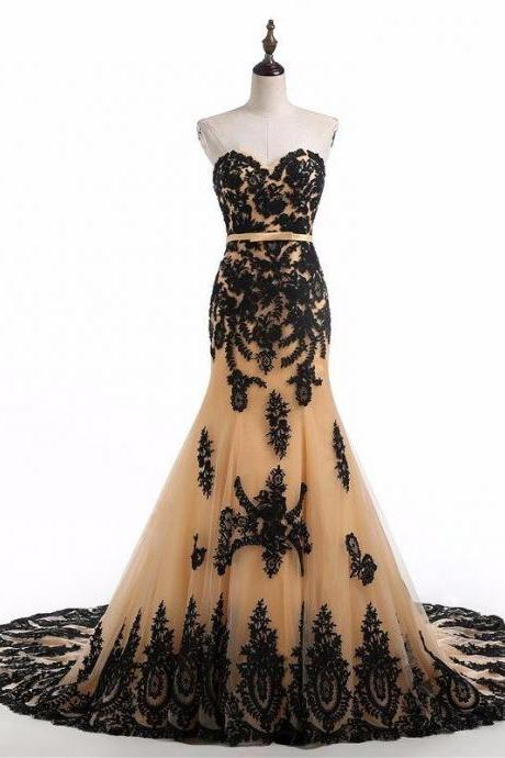 Women Lace Applique Mermaid Champagne Formal Dresses Tulle Evening Party Gonws With Belt