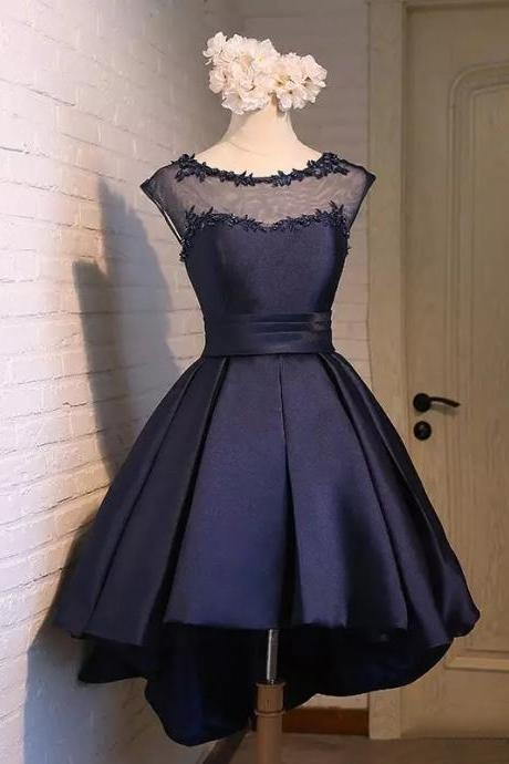 High Low Navy Blue Satin Formal Dresses Evening Party Gonws With Sheer Neck