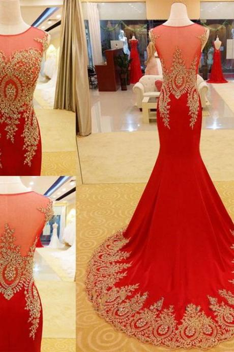 Lace Applique Red Mermaid Formal Dresses Featuring Sheer Neck And See Through Back - Prom Dresses,Party Dress